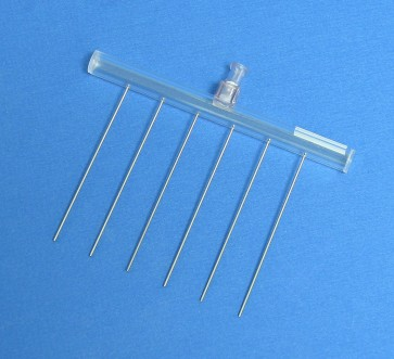 VP 182F - 6 Channel Aspiration or Dispensing Manifold on 20 mm centers and 65 mm long for 24 Well Microplates, Polycarbonate Barrel