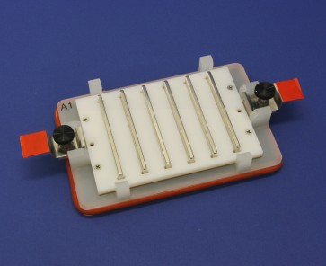 VP 771HH-MC- Flick and Blot Magnetic Separation Plate for 96 Deep Well Flat, Round, Pyramid bottom Microplates, 6 Magnetic (50 MGO) Bars, White Polycarbonate Frame, New Clips