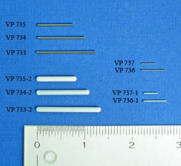 VP 733-2 - PTFE Encapsulated Stainless Steel Stick Stirrer for 96 Deep Well Microplates or Tubes, 2.5 mm Diameter x 34.6 mm length