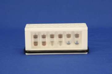 VP 772F8 - White Delrin Twelve Tube Magnetic Separation Rack for 0.5, 1.5  and 2.0 ml Microcentrifuge Tubes, with 12 NdFeB Magnets 6.35 mm in Diameter, Pellets located high and low in the Tubes