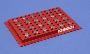 VP 771LE-4CS - Magnetic Separation Plate for 96 Well PCR Microplates Full Skirted, 24 Slightly Protruding Magnetic (52 MGO) Cylinders, Step Down Edge, SLAS Footprint, No Registration Base