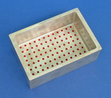 VP 530D-AL - Aluminum Reservoir with Ninety Six 3.3 mm Diameter Dimples in Bottom for 96 Robotic Pipettors, Hydrophilic Coated for Minimum Dead Volume Loss, Max Capacity 170 ml, with SLAS Footprint x 48 mm Tall