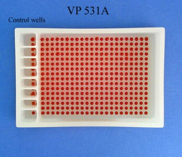 VP 531A - Polypropylene Reservoir with 384 Dimpled Bottom for 384 Robotic Pipettors, 8 Separate Control Wells with 4 positions in each and one large section, SLAS Footprint x 32 mm Tall