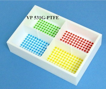VP 531G-PTFE  - PTFE Reservoir with 384 Dimpled Bottom for 384 Robotic Pipettors, 4 Separate Sections each with 96 Positions in each, SLAS Footprint x 32 mm Tall