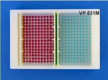 VP 531M - Polypropylene Reservoir with 384 Dimpled Bottom for 384 Robotic Pipettors, 2 Separate Control Wells with 16 Positions each and 2 Large Sections with 176 Positions each, SLAS Footprint x 32 mm Tall