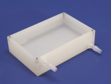 VP 540T-A - Polypropylene Reservoir, with Notches for VP 540F Anti-Splash Baffles, with Inlet and Outlet Nipples on Opposite Ends of Long Axis, with Locating Pins for Blotting Station, SLAS Footprint, Autoclavable
