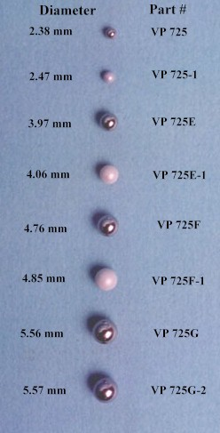 VP 725G-2 - PTFE Encapsulated Stainless Steel Stir Balls for 96 Well Microplates and microtubes,  5.57 mm diameter