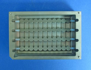 VP 750AL- Aluminum Suspension Reservoir for 96 Channel Pipets, Hydrophilic Coated, 4 Bubble Paddles, Sculpted Bottom,  Max Capacity 270 ml, SLAS Footprint, Heat Exchange Fins on Bottom, Sculpted Paddle Depressions