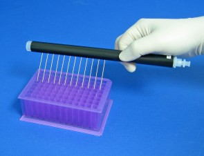 VP 185BP - 12 Channel Aspiration or Dispensing Manifold on 9 mm centers and 45 mm long for Microplates, Polypropylene Barrel