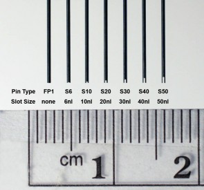 FP1NS6 - 0.457 mm Diameter Tube Style Floating Pin with 6 nl Slot tip, 17 mm exposed