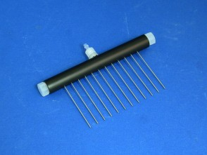 VP 187BP-60 - 12 Channel Aspiration or Dispensing Manifold on 9 mm centers and 60 mm long for Microplates, Polypropylene Barrel