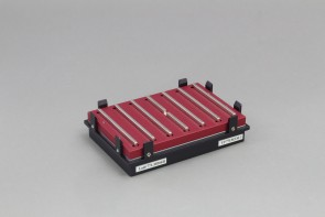 VP 771MZM-1-ALT - Magnetic Bead Separation Block for 96 well microplates, standard and deep well, 7 bar magnets, center magnet with notch, alternating polarity, red anodized aluminum magnet frame, SBS footprint, includes high profile Registration Base VP