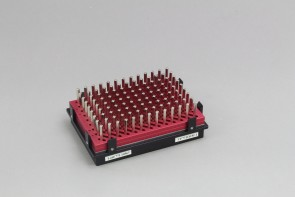 VP 771OZM-1  - Magnetic Bead Separation Block for 96 deep well microplates, 117 tall square post magnets, vertical magnetic pull, red anodized aluminum magnet frame, SBS footprint, includes high profile Registration Base VP 771G-4RM-1. Each.