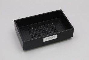 VP 530C1-B - Black Delrin Reservoir with 96 Dimpled Bottom for 96 Robotic Pipettors, for Light Sensitive Reagents, Max Capacity 700 ml, Outside Top Dimensions are 190.3 mm by 115.3 mm and 54.3 mm tall with SLAS Footprint Bottom, Not Autoclavable