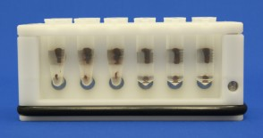 VP 772F9 - White Delrin Twelve Tube Magnetic Separation Rack for 0.5, 1.5  and 2.0 ml Microcentrifuge Tubes, with 12 NdFeB Magnets 6.35 mm in Diameter, Pellets located high and low in the Tubes, Flick and Blot