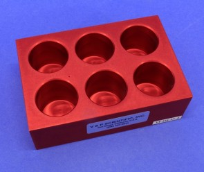 VP 416-ALC-6 - Aluminum Heat Block Insert, 6 Wells 32 mm Diameter 40 mm Deep, SLAS Footprint