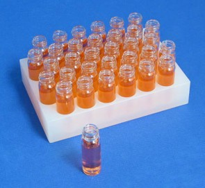 VP 417-32 - Polypropylene Vial Rack 32 Wells, 16 mm Diameter Wells x 20 mm Deep and 25.4 mm Overall Height, SLAS Footprint