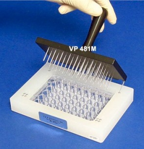 VP 481M - 48 Magnetic S/S Pin Multi-Blot Replicator, on 13.5 mm centers, 1.58 mm Pin Diameter, 22 mm long, chamfered tip