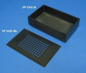 VP 530C-B - Black Polypropylene Reservoir with 96 Dimpled Bottom for 96 Robotic Pipettors, for Light Sensitive Reagents, Max Capacity 700 ml, Outside Top Dimensions are 190.3 mm by 115.3 mm and 54.3 mm tall with SLAS Footprint Bottom, Autoclavable