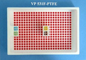 VP 531F-PTFE - PTFE Reservoir with 384 Dimpled Bottom for 384 Robotic Pipettors, 4 Separate Control Wells with 4 positions in each and 1 Large Section with 368 positions, SLAS Footprint x 32 mm Tall