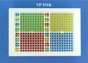 VP 531K - Polypropylene Reservoir with 384 Dimpled Bottom for 384 Robotic Pipettors, 16 Separate Control Wells with 4 positions and 4 Large Sections with 80 positions in each, SLAS Footprint x 32 mm Tall