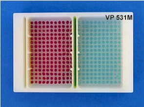 VP 531M - Polypropylene Reservoir with 384 Dimpled Bottom for 384 Robotic Pipettors, 2 Separate Control Well with 16 positions each and 2 large sections with 176 Positions each, SLAS Footprint x 32 mm Tall