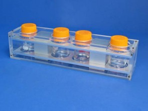 VP 772F - Aluminum and Polycarbonate Magnetic separation Frame for 4 Bottles (100 to 250 ml) using 2 NdFeB Magnets (51 x 51 x 79 mm)